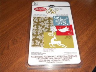SIZZIX 4PC EMBOSSING FOLDERS HOLIDAY REINDEER & BIRDS SET WITH DIE~NEW