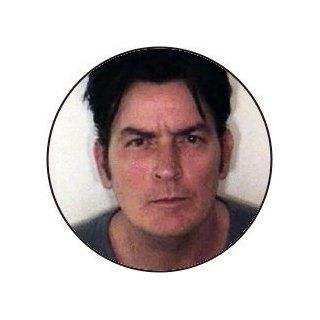 Charlie Sheen Color Police Mug Shot   1 1/2 Button / Pin