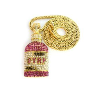 Lil Wayne Gold with Fuschia Iced Out SYRP Pendant with a 36 Inch