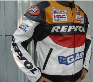 Repsol Honda Motorcycle Jacket PU Leather Orange M L XL XXL