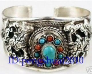 Tibet Silver Turquoise Coral Beads Carved Dragon Cuff Bracelet