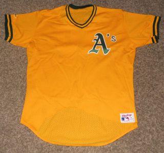Oakland Athletics Game Used Worn Jersey Rick Honeycutt Pregame Batting