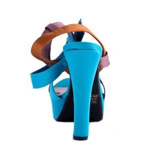 Lady Party Teal Multi Color Strappy Satin Chunky Platform Sandal Pump