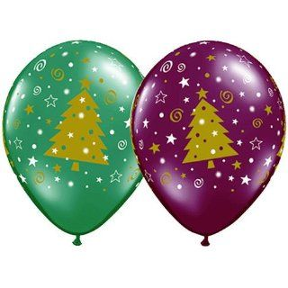 11 Christmas Tree Stars & Swirls Around Balloons (10 ct