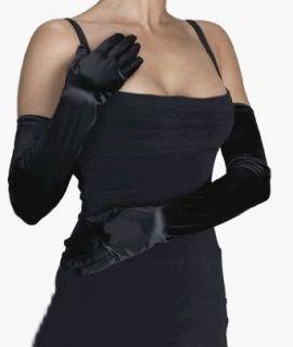 Womens Black Opera Length Satin Gloves Clothing