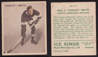 1933 Ice Kings World Wide Gum Card 31 Hooley Smith