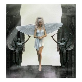 The Gate Keeper Angel Fantasy PrintA pretty Angel in white stands
