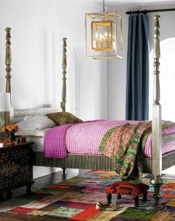 Horchow  Jolie Poster Bed Antique Silver Leaf Furniture