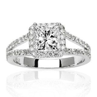 Halo Style Double Row Pave Set Diamond Engagement Ring with a 0.71