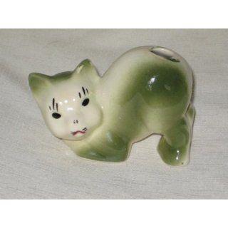 Vintage Morton Art Pottery   Green Cat Cactus Planter