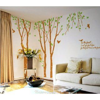 3 Birch Tree with Flying Birds and Letters   Vinyl Wall