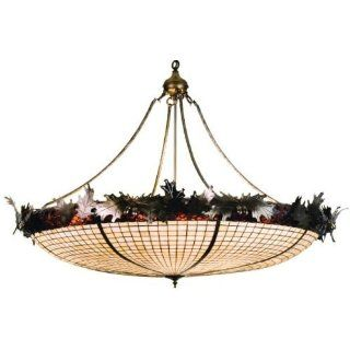 Acorn & Oak Leaves Tiffany Stained Glass Inverted Pendant Lighting