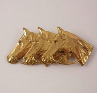 Vintage Triple Horseheads Figural Pin Brooch Gold Finish