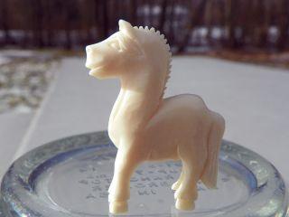 Cute Hand Carved Faux Ivory Ox Bone Miniature Horse Figurine