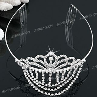 Rhinestone Wave Bridal Hairband Headband Tiara 2 Combs Hot