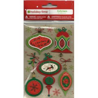 CHRISTMAS ORNAMENTS STICKERS (5 STICKERS) HOLIDAY TIME HOLIDAY TIME