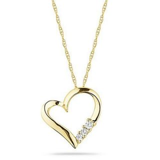10k Yellow Gold 3 Stone Diamond Heart Pendant Necklace (1/10 cttw, I J