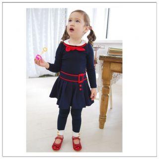New Kids Navy Blue Dress Round Neck Red Bow Tie Girls Children Size 2