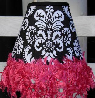 Lamp ShadesBlack and White Damask with Hot Pink Gimp Fringe