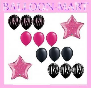 Hot Pink Zebra Stripes Latex Balloons Black Party Supplies Birthday