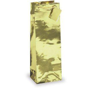 Gold Metallic Foil Single Wine Bottle Gift Bag w/ Heavy