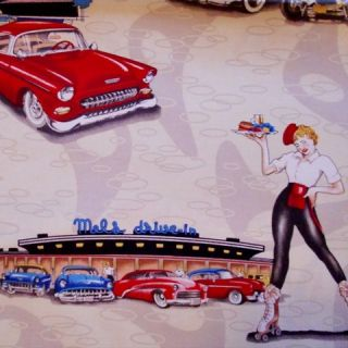hot rod pinup girl roller skates diner 50s retro rock n roll fabric FQ
