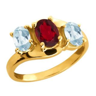 81 Ct Oval Ruby Red Mystic Topaz and Aquamarine 14k Yellow Gold Ring