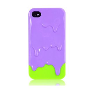 Purple Green 3D Melt Ice Cream Skin Hard Back Case Cover for iPhone 4