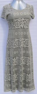 Jessica Howard Dress Pewter Lace Overlay Misses Size 14 Black Lining