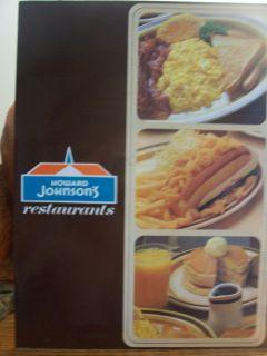 Howard Johnsons Breakfast Lunch Menu 1970s Logo Mint