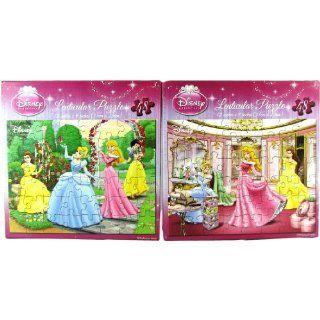 Set of 2 Disney Princess 48 Piece Lenticular Puzzles Toys