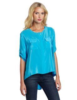 Amanda Uprichard Womens Morgan Hi Lo Shirt, Aqua, Petite