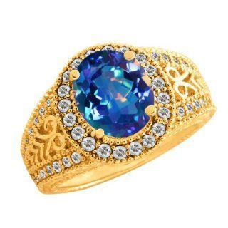 98 Ct Oval Millenium Blue Mystic Quartz White Sapphire 10K Yellow