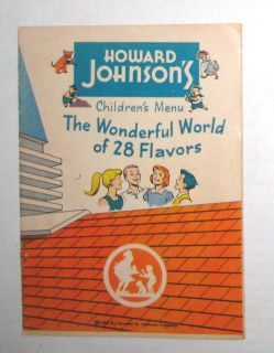 Howard Johnsons 1960 Childrens Menu Comic Book Games