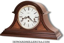 Howard Miller Key Wound Chiming Mahogany Mantel Clock Fireplace