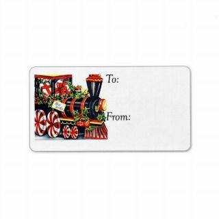 Vintage Best Wishes Christmas Train Gift Tag Custom Address Labels