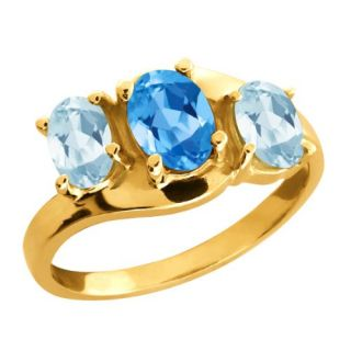90 Ct Genuine Oval Swiss Blue Topaz Gemstone 10k Yellow Gold Ring