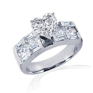 95 Ct NEW Heart Shaped Diamond Engagement Ring Channel Set 14K CUT