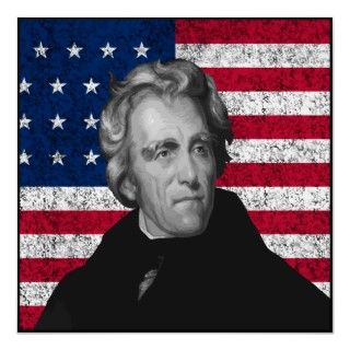 Andrew Jackson and The US Flag    Border Poster