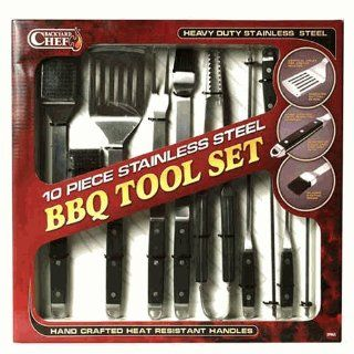 Backyard Chef 10 Pc Stainless Steel BBQ Tool Set. Patio