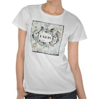 French Antique Style Rococo Design & Pink Roses Tee Shirts