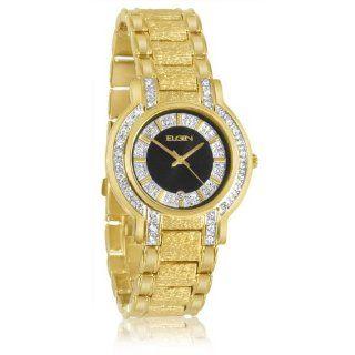 Elgin FG330SP Mens Swarovski Crystal Accented Case Gold Tone Bracelet