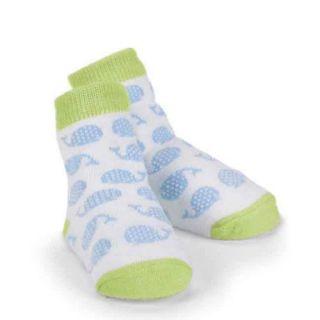 Mud Pie Newborn Baby Boys Whale Socks, Light Green/White