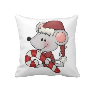 Christmas Mouse With Candy Cane Throw Pillows