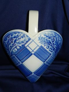 Vintage Danish Bing & Grondahl Christmas Plaid Heart Porcelain Wall