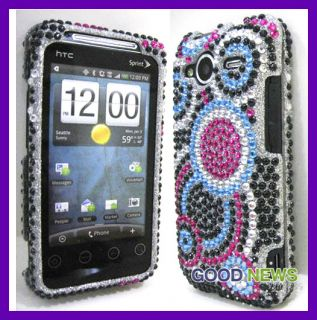 HTC Evo Shift 4G   Blue Circle Crystal Diamond Bling Case Phone Cover
