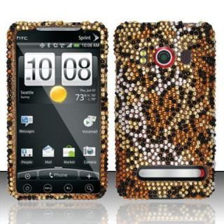 HTC EVO 4G Sprint Hard Case Snap on Phone Cover Golden Cheetah Bling Z