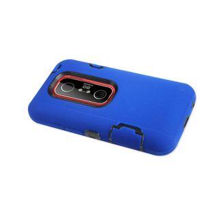 Layer Soft Hard Impact Hybrid Case for HTC EVO 3D Blue Black