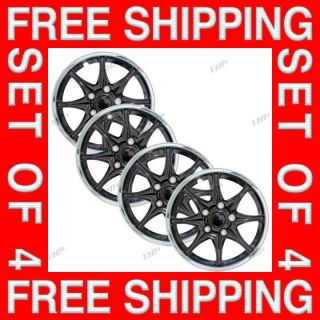 Set of 4 New 16 Black Hubcaps Center Hub Caps Wheel Rim Covers Free