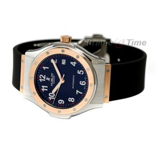 Hublot Classic Super B Mens 18K SS Rose Gold Automatic Steel Black